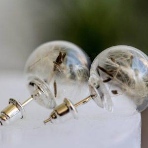 Stikliniai auskarai su pienės pūkais
