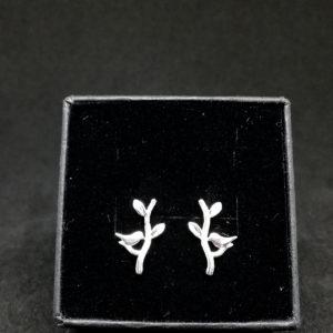 Sidabriniai auskarai Paukščiukai medyje