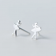 sidabriniai auskarai balerina