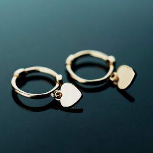sidabriniai auskarai gold heart