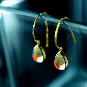 sidabriniai auskarai gold rain drop