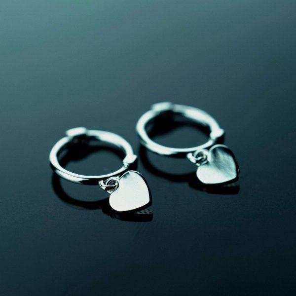 sidabriniai auskarai heart