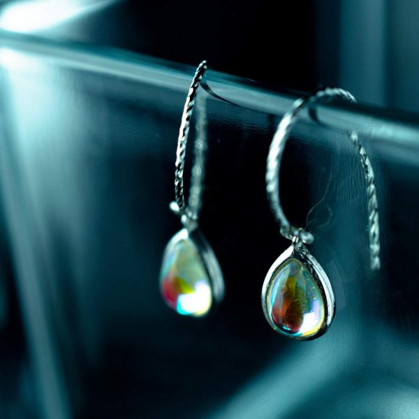 sidabriniai auskarai rain drop