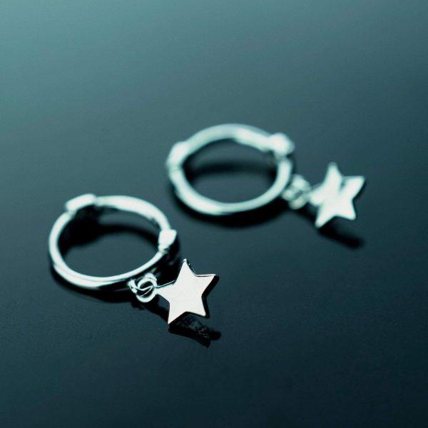 sidabriniai auskarai star