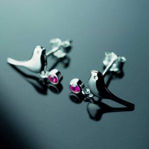 sidabriniai auskarai rozinis paukstelis